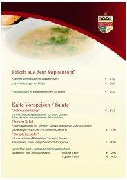 Frisch aus dem Suppentopf Kalte Vorspeisen / Salate
