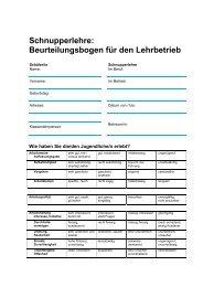 Schnupperlehre: Beurteilungsbogen für den ... - Schule Emmetten