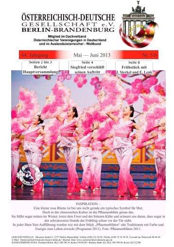Mitgliederzeitung Nr. 05/06, Mai-Juni 2013 64. Jahrgang