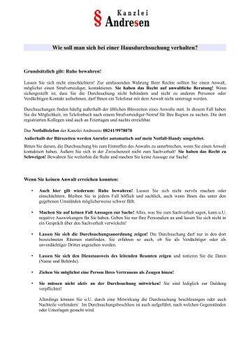 Merkblatt Durchsuchung - Kanzlei Andresen
