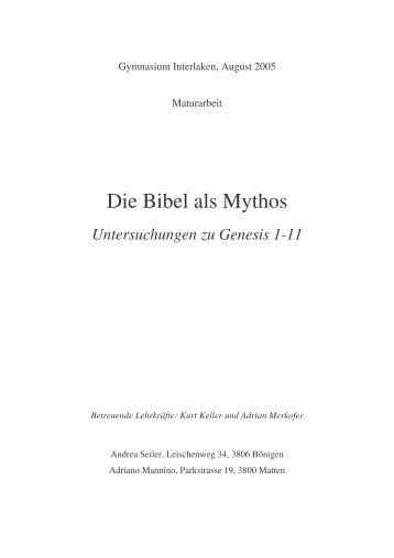 Die Bibel als Mythos. Berner Theologiepreis - Theologiestudium
