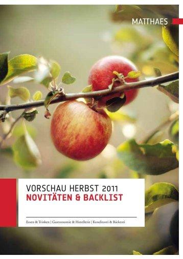 Vorschau herbst 2011 NovitäteN & Backlist - Boersenblatt.net