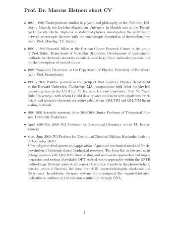 Prof. Dr. Marcus Elstner: short CV