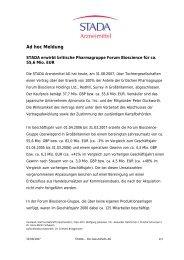 Ad hoc Meldung - STADA Arzneimittel AG