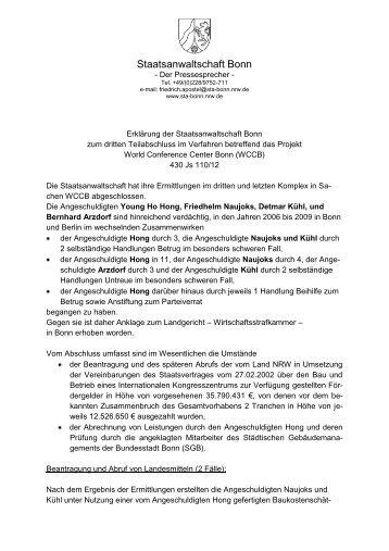 11.09.2012: Erklärung der Staatsanwaltschaft Bonn zum dritten ...