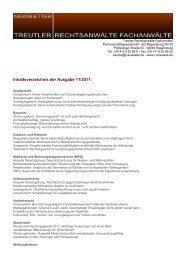 Inhaltsverzeichnis der Ausgabe 11/2011: - Treutler