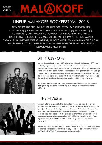 LINEUP MALAKOFF ROCKFESTIVAL 2013 - Fylkesmagasinet