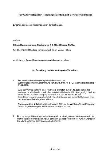 Weg Mustervertrag Bewerbung Musterbearbeitet Wohn Consult