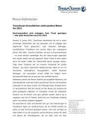TransOcean Kreuzfahrten zieht positive Bilanz für 2012