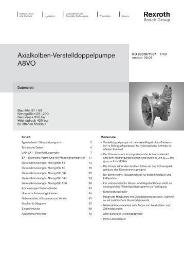 Axialkolben-Verstelldoppelpumpe A8VO - Group VH A/S