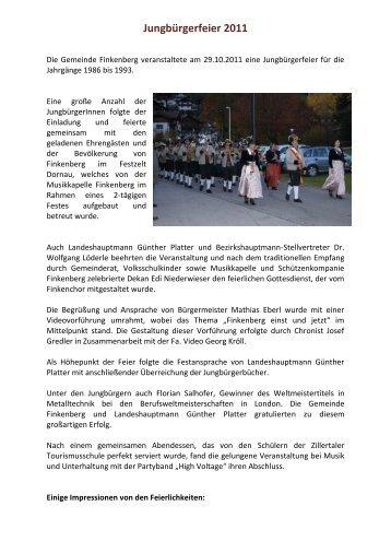 Jungbürgerfeier 2011 - Finkenberg