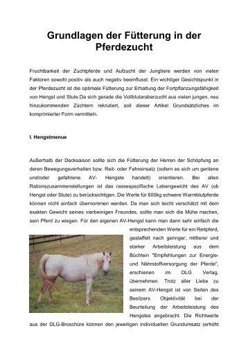 Grundlagen der Fütterung in der Pferdezucht - Araber.de