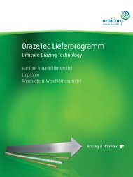 BrazeTec Lieferprogramm - Technical Materials - Umicore