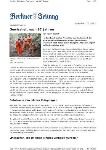 Gewissheit nach 67 Jahren - Verein zur Bergung Gefallener in ...
