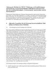 Änderung der Richtlinie des TMLNU