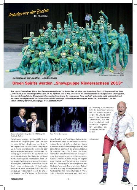 """Green Spirits werden """"Showgruppe Niedersachsen 2013"""" - NTB"""