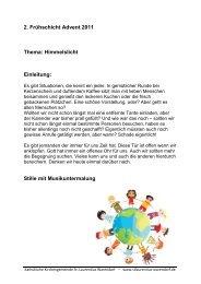 2. Frühschicht Advent 2011 Thema: Himmelslicht Einleitung - Kath ...