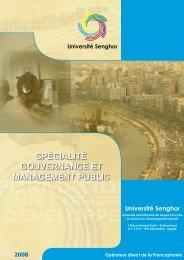 spécialité gouvernance et management public - Université Senghor ...