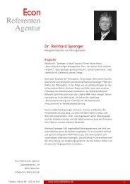 Dr. Reinhard Sprenger - Econ Referenten-Agentur