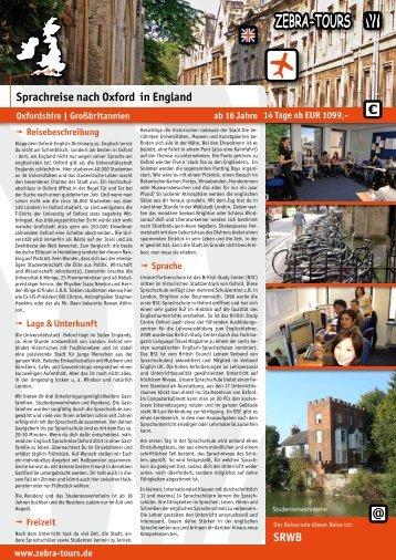 Englisch Sprachreise nach Oxford in England 2013. - Zebra-Tours