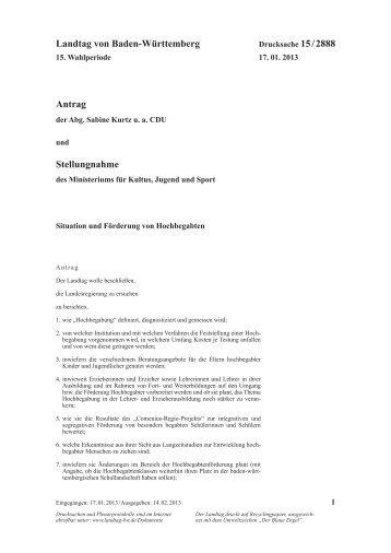 Situation und Förderung von Hochbegabten - Landtag von Baden ...
