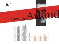 Attention Artaud - Institute for the Performing Arts and Film - Zürcher ...