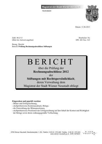 Bericht über die Prüfung der ... - Wiener Neustadt