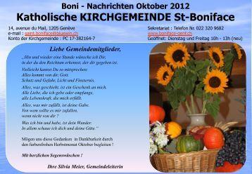 Nachrichten Oktober 2012 Katholische KIRCHGEMEINDE St-Boniface