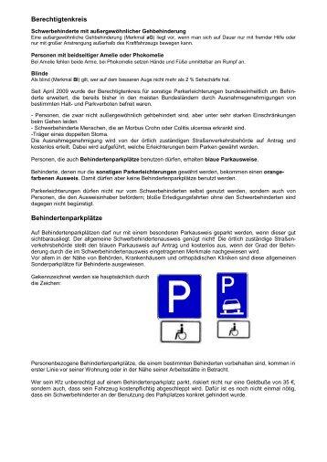 Berechtigtenkreis Behindertenparkplätze - kreisseniorenrat-bsk.de