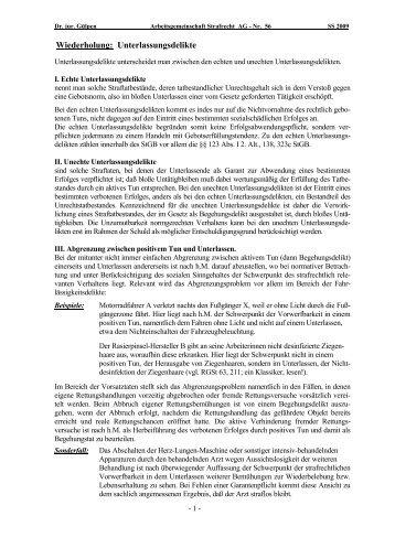 Wiederholung: Unterlassungsdelikte - Dr. jur. Peter-René Gülpen
