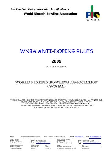 (WNBA) Anti-Doping Bestimmungen - Fédération Internationale des ...