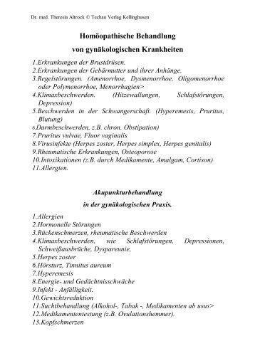 Homöopathische Behandlung von gynäkologischen Krankheiten