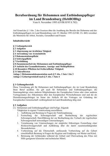 Berufsordnung für Hebammen und Entbindungspfleger im Land ...