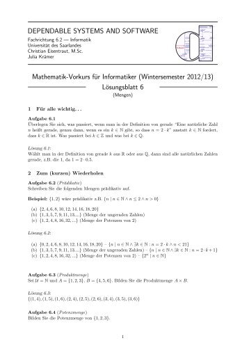 Lösungsblatt 6 - Dependable Systems and Software - Universität ...