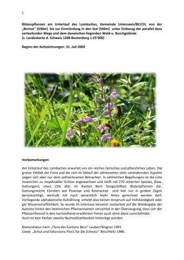 Dokumentatioin der Blütenpflanzen - Unterseen