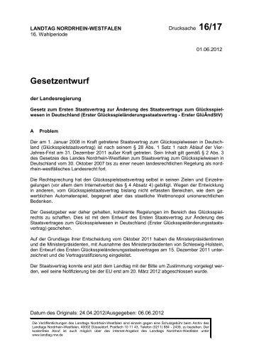Gesetzentwurf Glücksspielstaatsvertrag 2012 - Medienpolitik.net