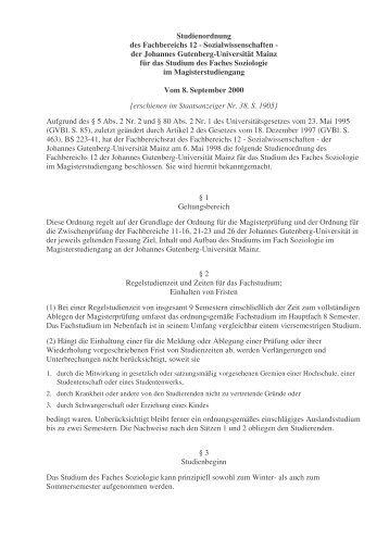 Studienordnung des Fachbereichs 12 - Sozialwissenschaften - der ...