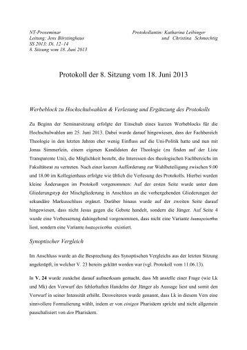 Protokoll der 8. Sitzung vom 18. Juni 2013 - Borste.org