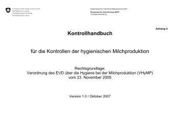 Kontrollhandbuch für die Kontrollen der hygienischen Milchproduktion