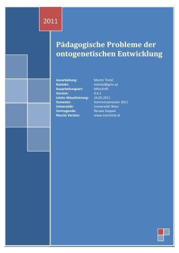 Pädagogische Probleme der ontogenetischen Entwicklung