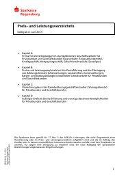 Preis- und Leistungsverzeichnis - Sparkasse Regensburg