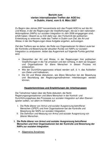 Bericht zum vierten internationalen Treffen der AGE/inc in Dublin ...