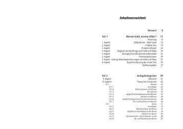 Inhaltsverzeichnis - Einkaufsgemeinschaft für Gold und Silber GbR