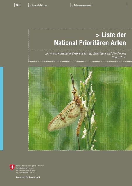 Liste der National Prioritären Arten - Schweizer Informationssystem ...