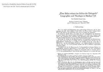 Geographie und Theologie in Markus 7,31. - Stichometrie im Neuen ...