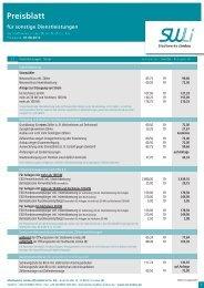 Preisblatt für sonstige Dienstleistungen - Stadtwerke Lindau