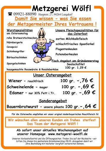 Vorbestellzettel Ostern 2013 - Gasthof Pension Metzgerei ...