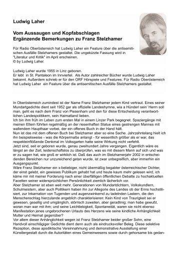 Ludwig Laher Vom Aussaugen und ... - Franz Stelzhamer