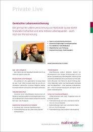 Gemischte Lebensversicherung Produktblatt - Nationale Suisse