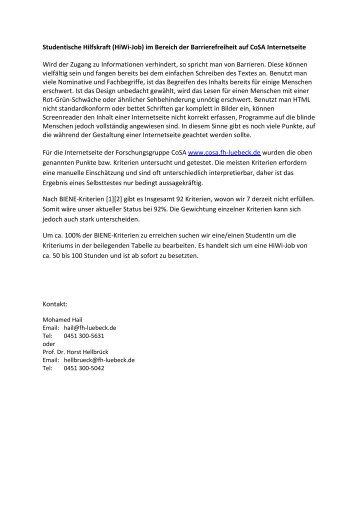 Studentische Hilfskraft im Bereich der Barrierefreiheit auf CoSA ...